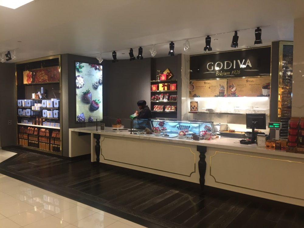 Godiva shop located within Macy's